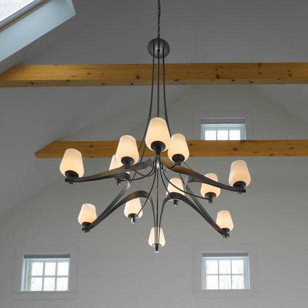 Ribbon 12-Light Shaded Chandelier Glass: Clear with Opal, Finish: Translucent Bronze