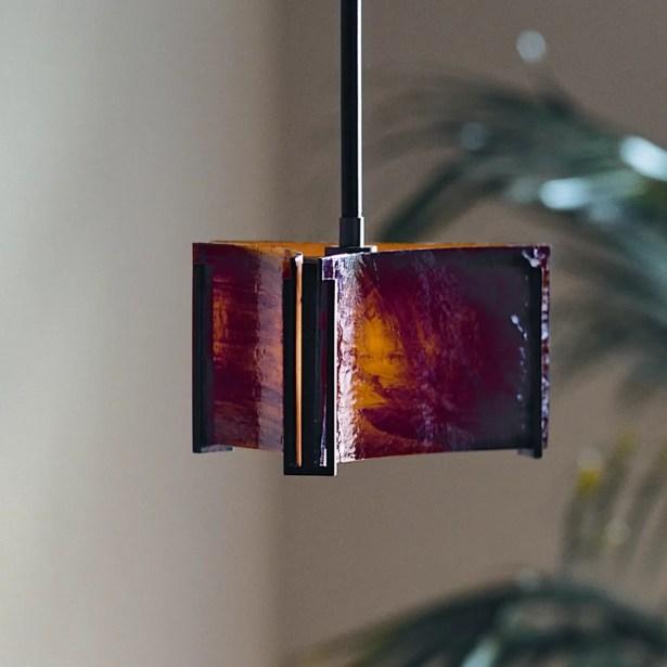 Exos Delta 1-Light Geometric Pendant Glass: Topaz, Finish: Translucent Burnished Steel