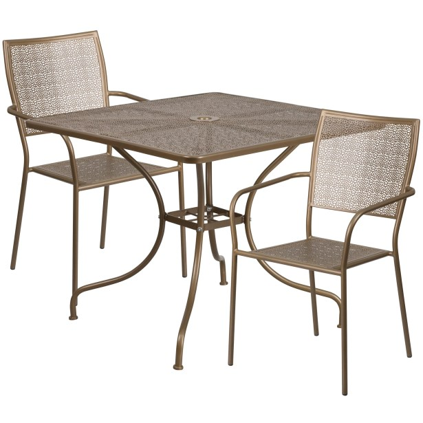 Janeth 3 Piece Bistro Set Finish: Gold