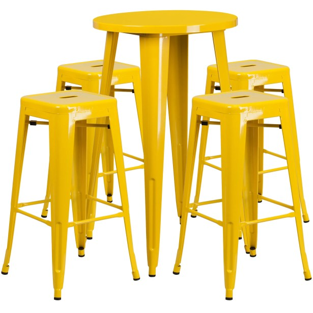 Colbert 5 Piece Bar Height Dining Set Finish: Yellow, Table Size: 41