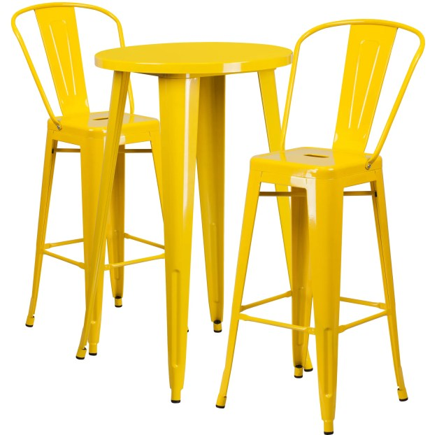 Sumter 3 Piece Bar Height Dining Set Finish: Yellow