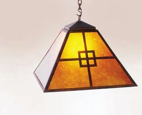 Prairie 1-Light Dome Pendant Finish: Old Iron, Shade / Lens: Amber Mica
