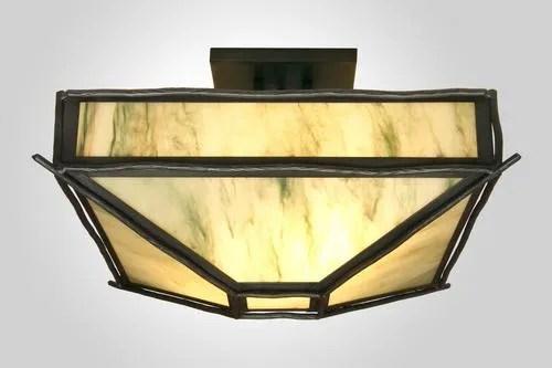 Sticks 4-Light Post Drop Semi Flush Mount Ceiling Light Finish: Mountain Brown, Shade Color: Slag Glass Pretended