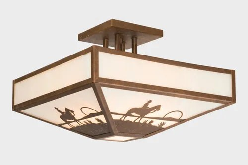 Cowboy Sunset Four Post Drop Semi Flush Mount Ceiling Light Finish: Mountain Brown, Shade Color: Slag Glass Pretended