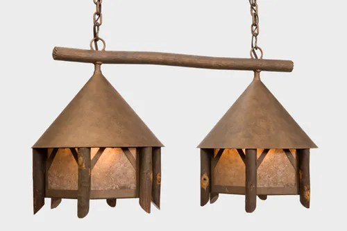 Campromise Double Anacosti Light Pendant Finish: Architectural Bronze, Shade / Lens: Slag Glass Pretended