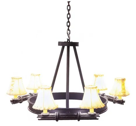 Bundle of Sticks 6-Light Shaded Chandelier Finish: Architectural Bronze, Shade / Lens: Natural Rawhide