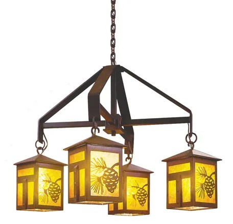 Mission 4-Light Shaded Chandelier Finish: Mountain Brown, Shade / Lens: Bungalow Green