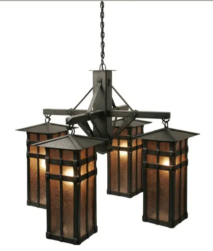 San Carlos 4-Light Shaded Chandelier Finish: Mountain Brown, Shade / Lens: Amber Mica