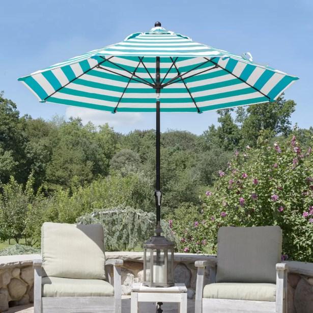 11' Market Umbrella Color: Black, Fabric: Orange and White Stripe Acrylic