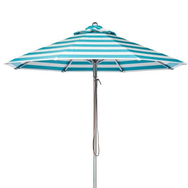 9' Market Umbrella Fabric: Turquoise and White Stripe