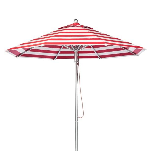 7.5' Market Umbrella Fabric: Red and White Stripe