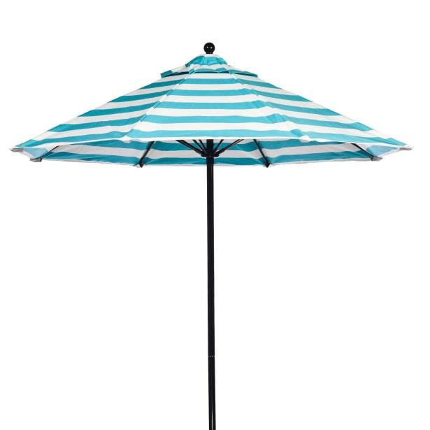 9' Market Umbrella Pole Type: Black Coated Aluminum Pole, Fabric: Turquoise and White Stripe