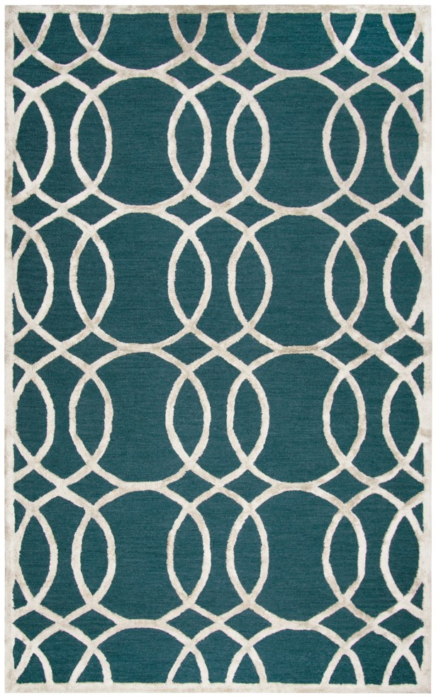 Fabian Hand Tufted Wool Teal Area Rug Rug Size: Rectangle 8' x 10'