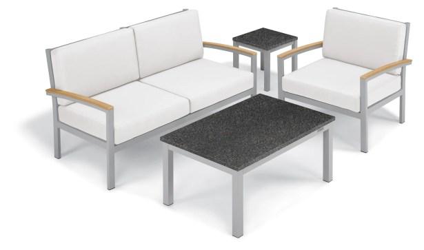 Farmington 5 Piece Sofa Set Frame Color: Natural, Fabric: Eggshell White, Table Top Color: Charcoal