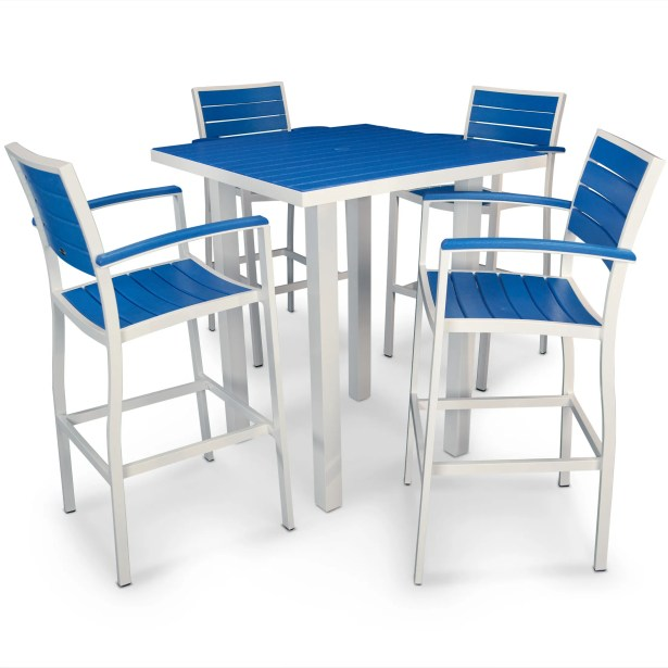 Euro 5 Piece Bar Height Dining Set Finish: Satin White, Fabric: Pacific Blue