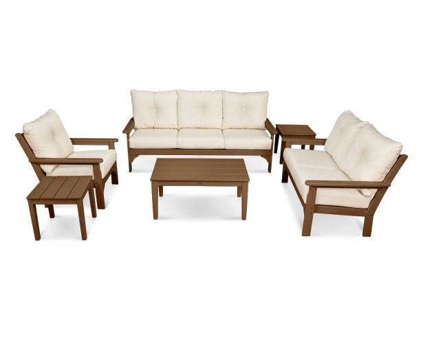 Vineyard 6 Piece Sunbrella Sofa Set with Cushion Frame Color: Teak, Fabric: Antique Beige