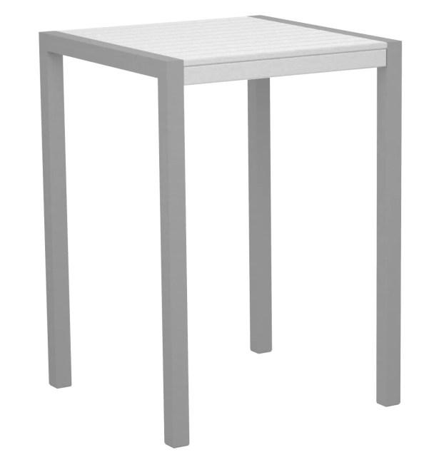 Mod Bar Table Top Finish: White, Base Finish: Textured Silver