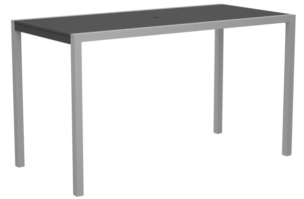 Mod Bar Table Base Finish: Textured Silver, Top Finish: Slate Grey