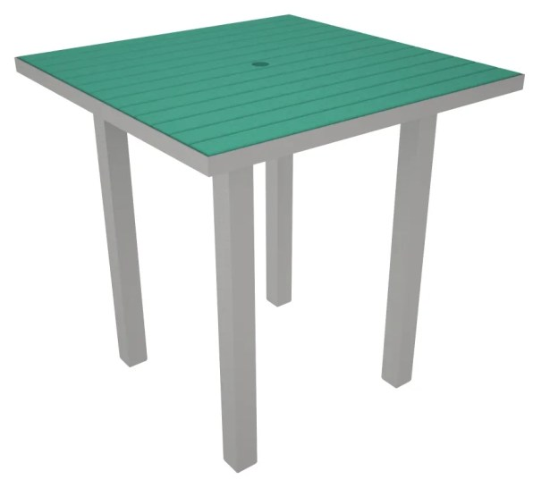 Euro Side Table Base Finish: Textured Silver, Top Finish: Aruba