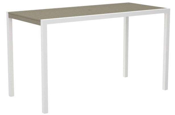 Mod Bar Table Base Finish: Textured White, Top Finish: Sand