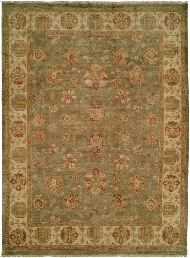 Buenaventura Hand-Knotted Green/Ivory Area Rug Rug Size: Rectangle 9' x 12'