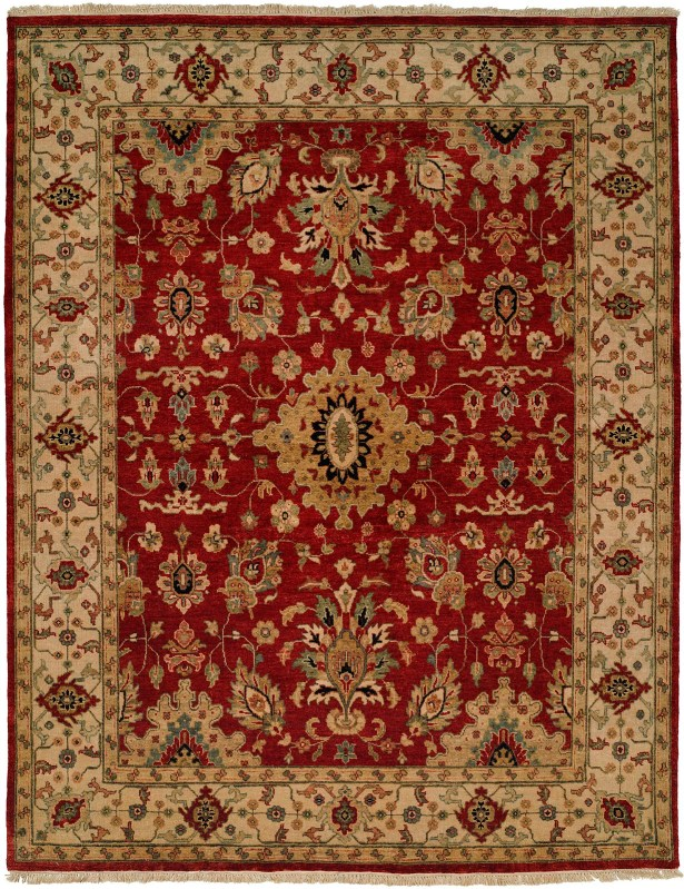 Cagayan Hand-Knotted Red/Beige Area Rug Rug Size: Square 10'