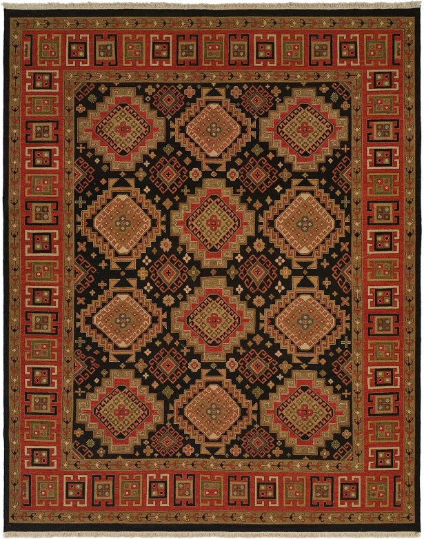 Montt Hand-Woven Black/Red Area Rug Rug Size: Rectangle 4' x 10'