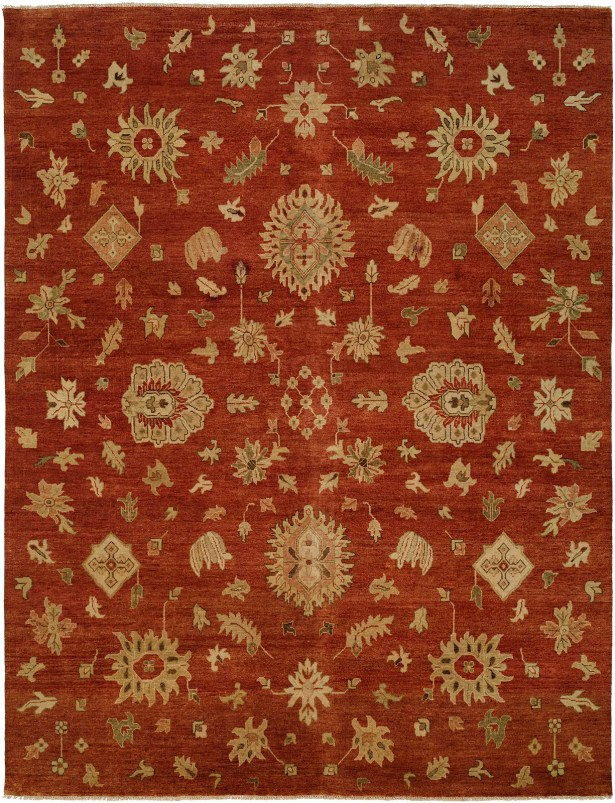 Bellingham Hand-Knotted Rust/Yellow Area Rug Rug Size: 3' x 5'