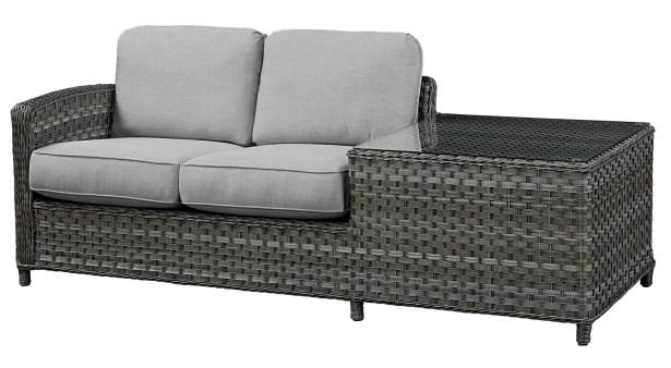 Loveseat with Cushion Frame Finish: Grey, Fabric: Flagship Salt