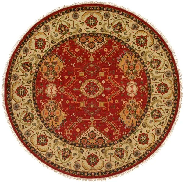 Khalifa Hand-Woven Red/Ivory Area Rug Rug Size: Round 10'