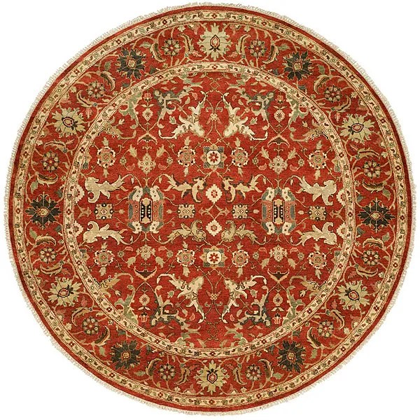 Hand-Knotted Rust Area Rug Rug Size: Round 8'