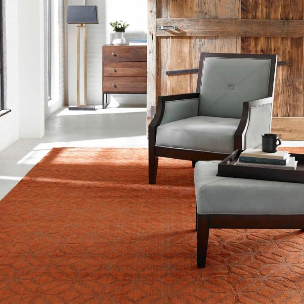 Handwoven Orange Area Rug Rug Size: 3'6