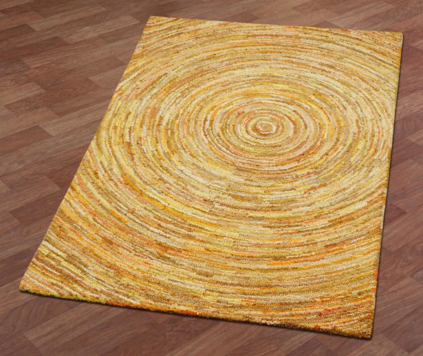 Brilliant Ribbon Hurricane Hand-Tufted Yellow Area Rug Rug Size: 5' x 8'