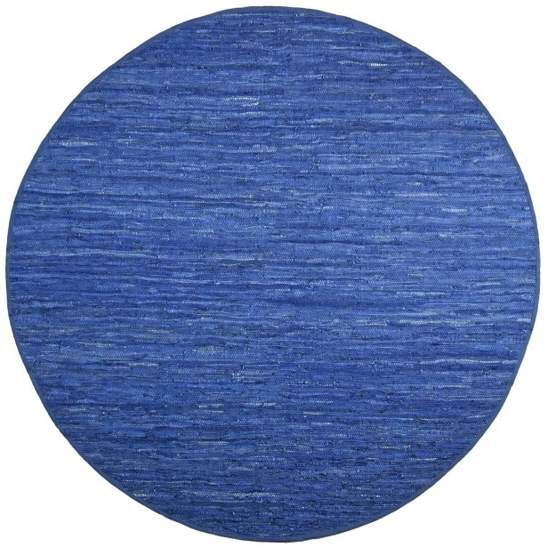 Sandford Chindi Hand Woven Cotton Blue Area Rug Rug Size: Round 8'