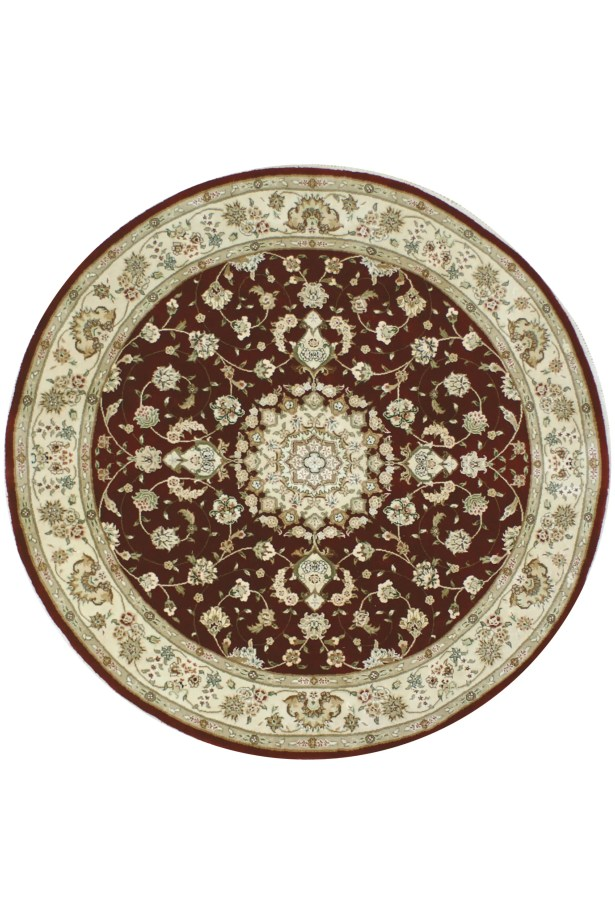 Hand-Tufted Burgundy/Red Area Rug Rug Size: Round 12'