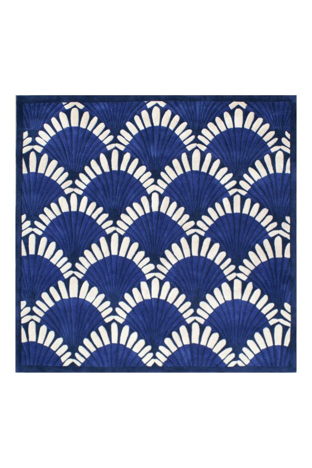 Alex Hand-Tufted Navy/White Area Rug Rug Size: Square 8'
