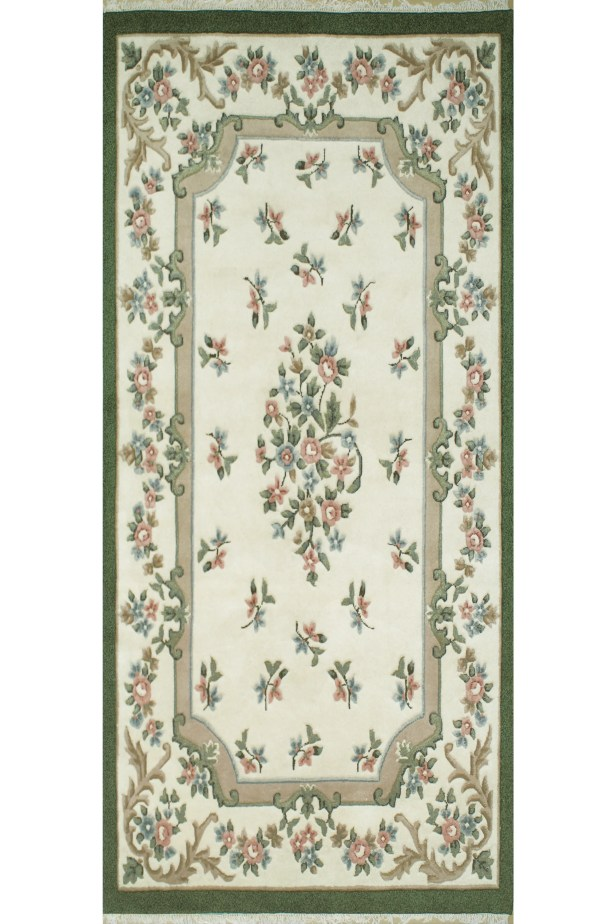 French Country Aubusson Ivory/Emerald Floral Area Rug Rug Size: Runner 2'6