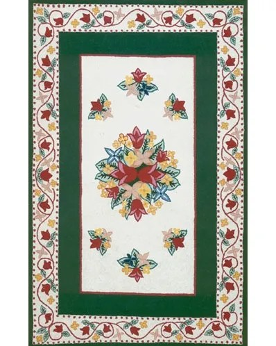 Bucks County Tulip Ivory/Emerald Green Area Rug Rug Size: Rectangle 4' x 6'