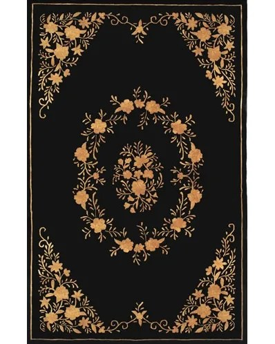 Neo Nepa Aubusson Flowers Black Area Rug Rug Size: Runner 2'6