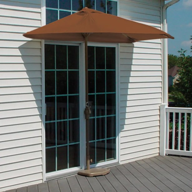 Off-The-Wall Brella 9' Half Market Umbrella Fabric: Teak - Sunbrella