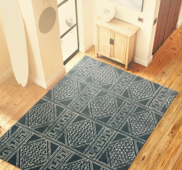 Kory Hand Tufted 100% Wool Blue Area Rug Rug Size: 8'6