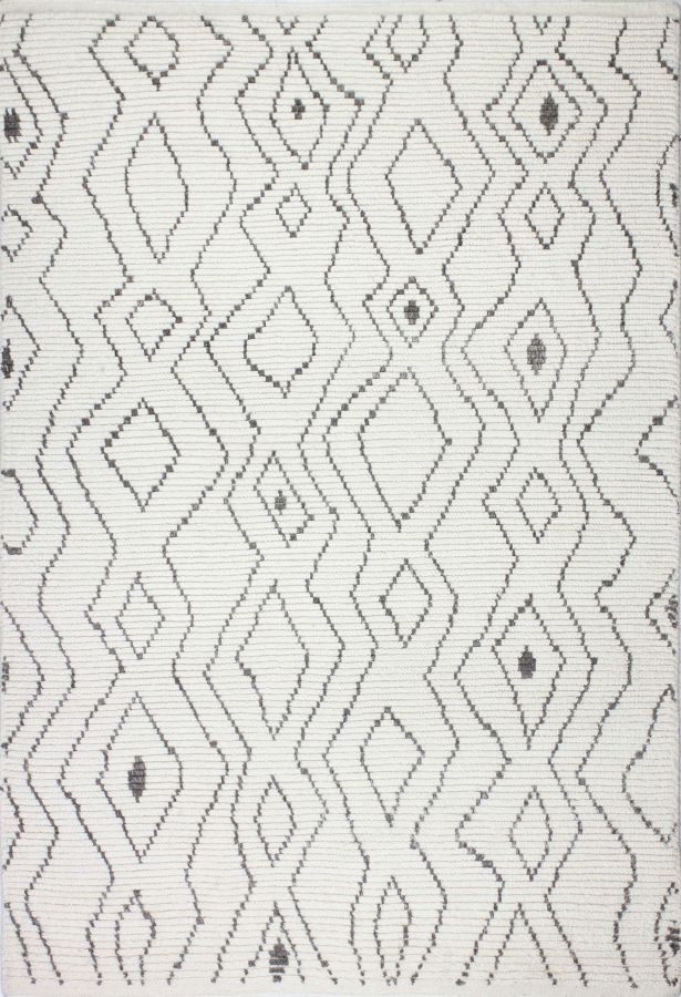 Daryl Hand-Knotted Wool Ivory Area Rug Rug Size: Rectangle 5' x 7'6