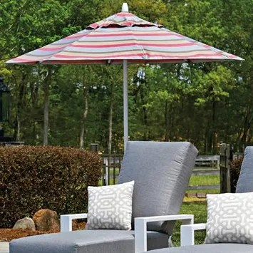 Commercial 11' Market Umbrella Frame Finish: Textured Silver, Fabric: Strickland