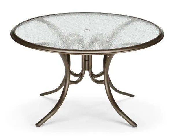 Glass Tables Round Ogee Rim Aluminum Dining Table Finish: Textured Beachwood