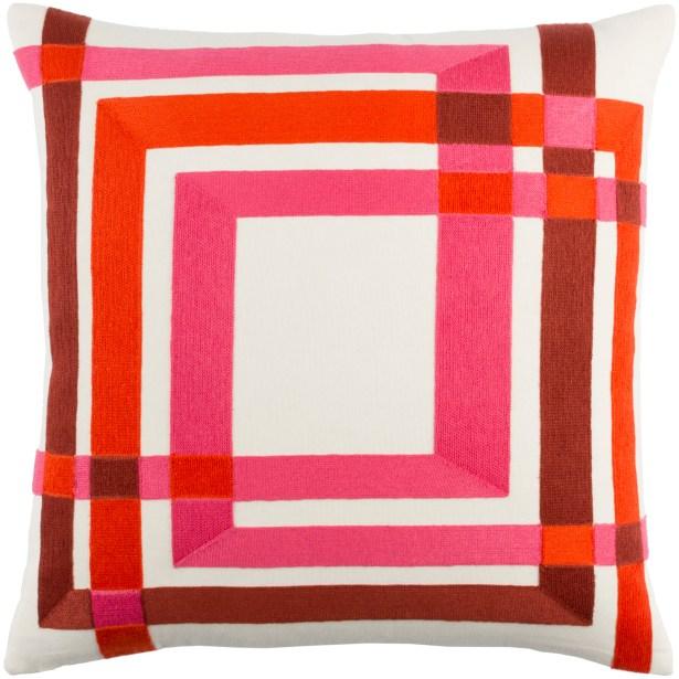 Kismet Color Form Throw Pillow Color: Cream/Navy/Violet/Bright Blue, Size: 22