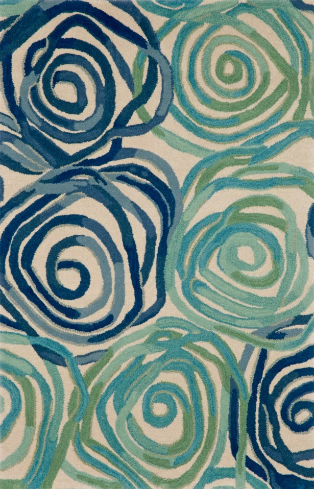 Terrill Rose Blue Area Rug Rug Size: 8' x 10'