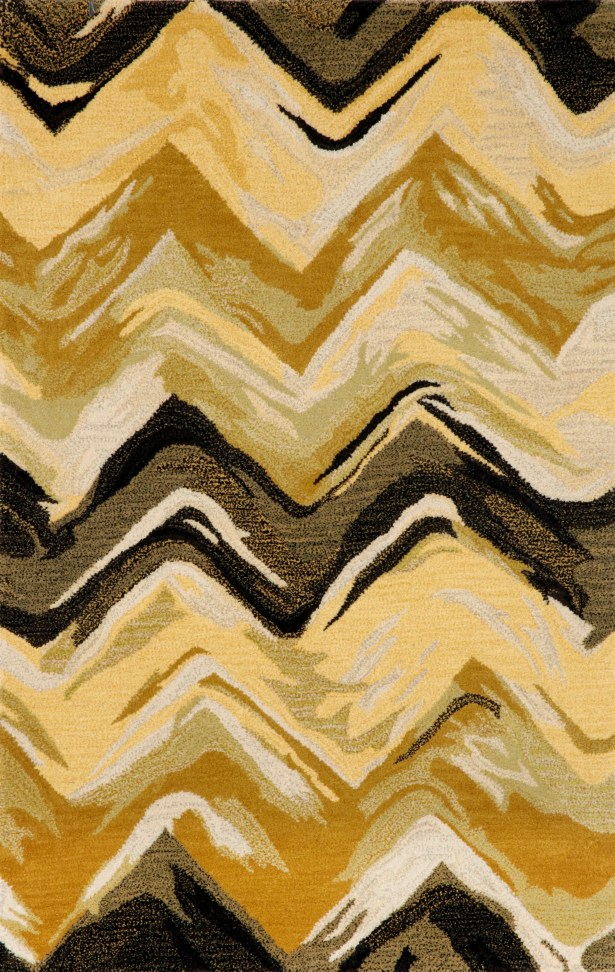 Terrill Chevron Yellow/Grey Area Rug Rug Size: 3'6