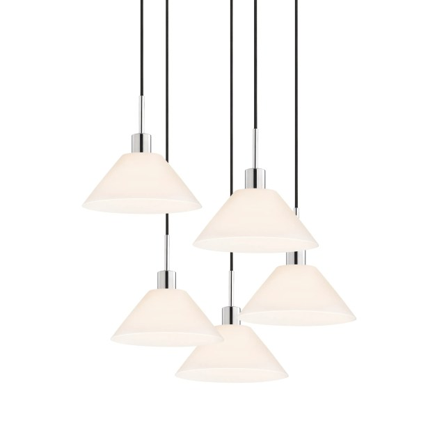5-Light Pendant Cord Color: Black