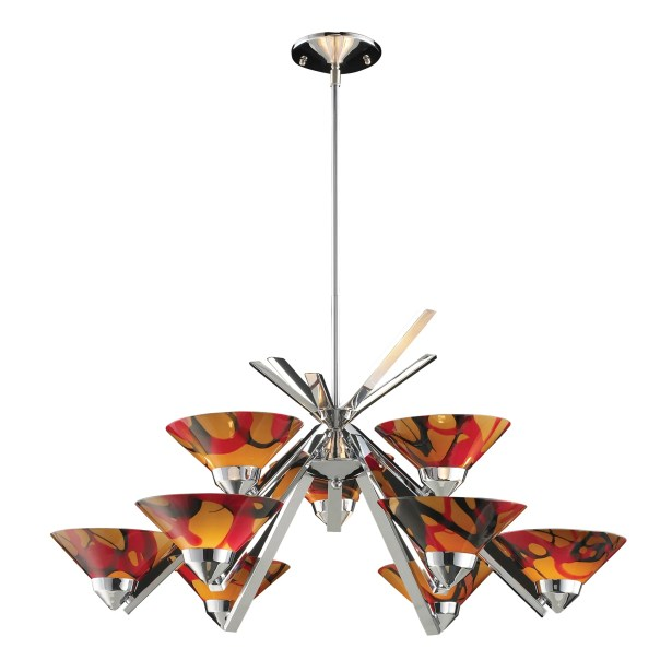 Klingbeil 9-Light Shaded Chandelier Glass Finish: Polished Chrome with Jasper Glass