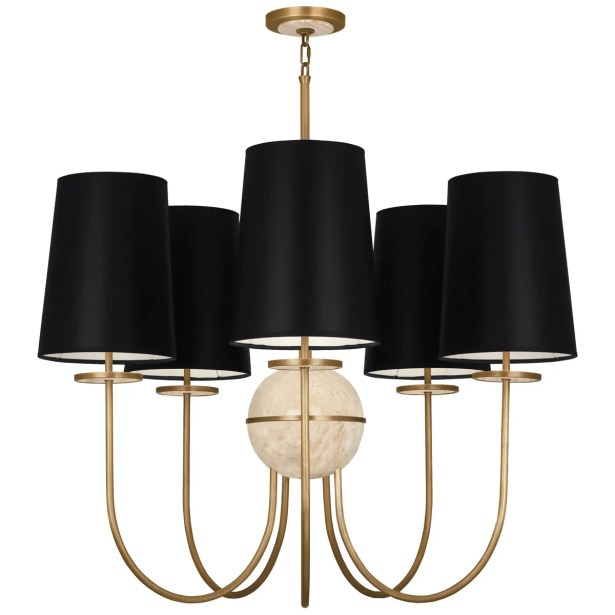 Fineas 5-Light Shaded Chandelier Finish: Aged Brass/Alabaster Stone, Shade Color: Black Opaque